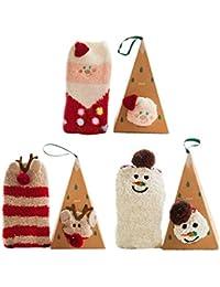 BAINASIQI Adultes Animaux Stéréoscopiques Chaussettes de Velours de Corail Cadeau de Noël Un ensemble (3 pièces avec boîte)