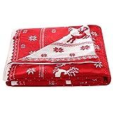 Unimall zweiseitige gestrickte Wohndecke Kuscheldecke weiche Tagesdecke mit Weihnachten Motiv/Schneeflocken, Elch (Rot, 130 x 180 cm)