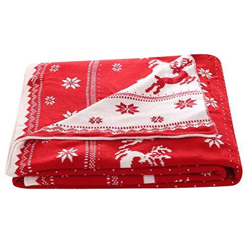 Unimall zweiseitige gestrickte Wohndecke Kuscheldecke weiche Tagesdecke mit Weihnachten...