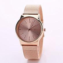 Vovotrade moda popular mujer chica clásico oro cuarzo acero inoxidable reloj de pulsera (Rosa dorada)