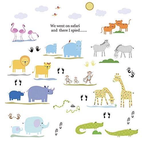 ufengke Pegatinas de Pared Animales de Safari Vinilos Adhesivos Pared Elefantes Flamencos...