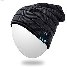 Bluetooth Beanie, Qshell Cappello musica con la cuffia senza fili Bluetooth auricolare stereo speaker mani Mic libera, migliore regalo di compleanno di Natale per le donne del Mens esterno di inverno Sci Snowboard - Nero