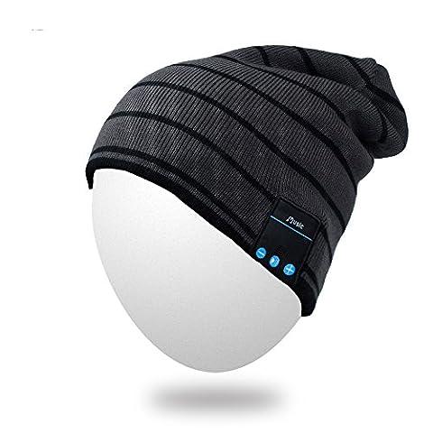 Bluetooth Beanie, Qshell Musique Hat avec sans fil Bluetooth casque écouteurs haut-parleur stéréo mains micro libre, meilleur cadeau de Noël d'anniversaire pour des femmes des hommes d'hiver Ski Snowboard Outdoor - Gris