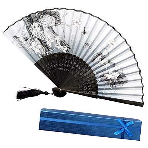Syeytx chinesischen Stil Hand Fan Bambus Papier Faltfächer Wandventilator + GeschenkboxHochzeit, Party, Tanz, Karneval Dekor