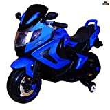 Kidbee 12V Electric Powered Motorcycle Bike Toy with Training Wheels, Led Headlights - Blue