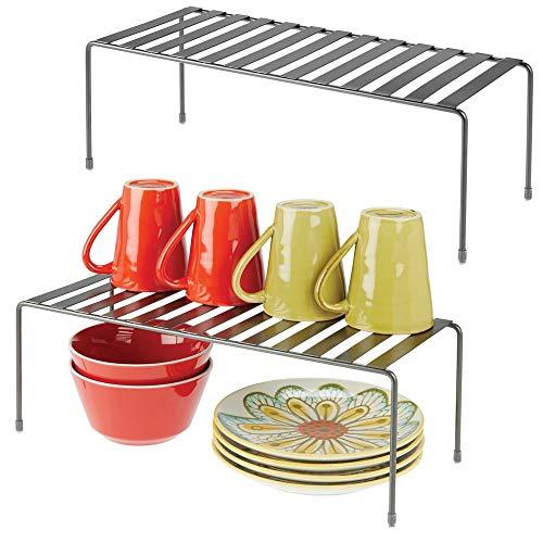 mDesign Juego de 2 estantes de Cocina - Soportes para Platos Independientes de Metal - Organizadores de armarios extragrandes para Tazas, Platos, Alimentos, etc. - Gris Oscuro