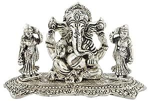 Maximilian HANDICRAFT Aluminum Ganesh with ridhi sidhi Idol (7 cm x 3 cm x 5 cm, Silver)