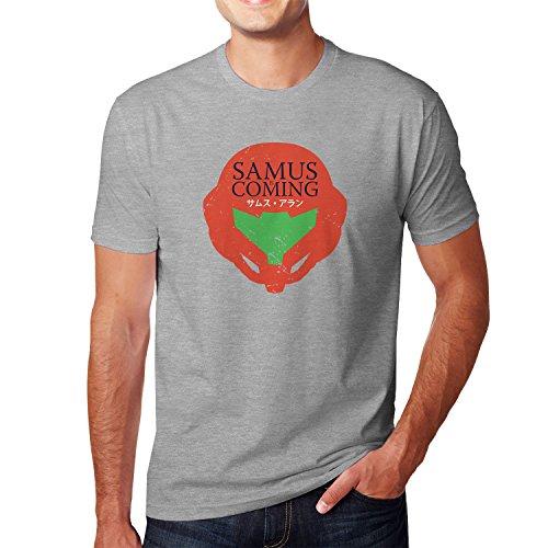 Planet Nerd - Samus is coming - Herren T-Shirt Grau Meliert