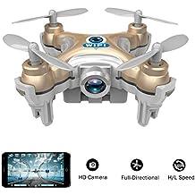 wifi contrôlé mini-quadcopter, Volarvin® - drone rc nano quadcopter super-micro avec caméra 2.4g 4 canaux 3d gyro 6 axes avec flips 360 spin cascade (seulement 6cm x 6cm x 2cm) en or