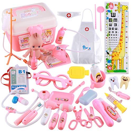 Arztköfferchen Doktor Set, Vicoki Kinderarztkoffer Arztkoffer mit 37 tlg Arzt Spielzeug für Kinder ab 3 Jahren, 22×16×16cm (Rosa)
