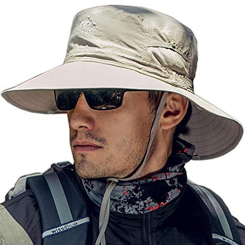 TourKing Outdoor Männer Sonnenhut Sommer UV Schutzkappe Breiter Krempe Angeln Wandern Camping Hut