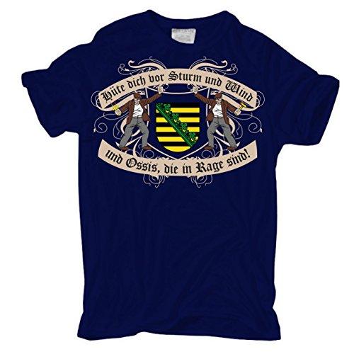 Männer und Herren T-Shirt Hüte dich DDR Sachsen körperbetont dunkelblau