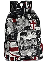 100c35c37a8a Fieans Union Jack Flag Casure Retro Canvas Backpack School Bag Traveling Bag  Daypack Rucksack (Red