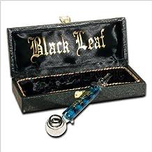 Black Leaf Pipa de Vidrio/ Vaporizador para Fumar - con Agujero de Tiro - 15cm en Caja de Madera