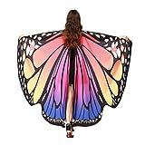 Lnefehsh Disfraz de Alas de Mariposa para Mujer,Lenfesh Adulto Mariposa Alas Chal Hada duendecillo Cosplay Capa Disfraces (Rosado #1, 168x135CM)
