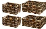 korb.outlet Stabiles Set/4 Regalkorb mit Holzrahmen Schubfach aus echtem Rattan/Schübe Box zur Aufbewahrung Regalkorb Schrankkorb Griff (Mehrfarbig, 1 Set 42x32x17 & 1 Set 20x32x17)