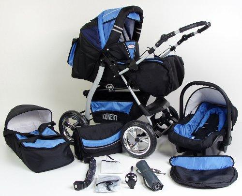 Clamaro \'VIP 2018\' 3in1 Premium Kinderwagen Kombi mit Soft Babywanne, Sport Buggy und Autositz Babyschale Gruppe 0+ (0-13 kg), Design: 4. Grau Hartgummi Bereifung - 11. Schwarz-Blau