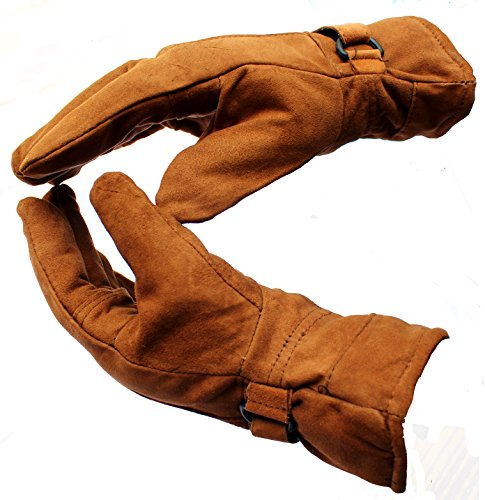 AlexVyan 1 Pair Brown and Tan High Quality Soft Leather Warm Winter Protective Riding Gloves for Cycling Byke Bike Motorcycle for men, Boys, Male Gents {Universal Size}