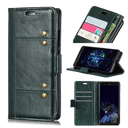 Wendapai Huawei Honor 9N (9i) Brieftasche Hülle, Stylish schlank PU Leder Griff Stand and Karte Holders Accessories Schutz Hülle zum Huawei Honor 9N (9i) -Dark Green (Light Switch Custom)