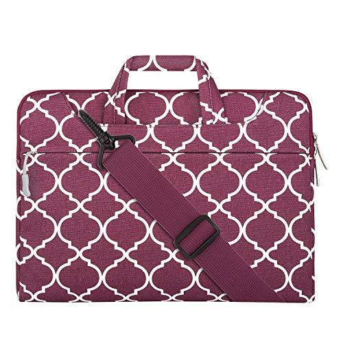 MOSISO Notebooktasche Kompatibel 13-13,3 Zoll MacBook Pro, MacBook Air, Notebook Computer Canvas Geometrisch Muster Laptoptasche Sleeve Hülle mit Griff und Schulterriemen, Weinrot Quatrefoil -