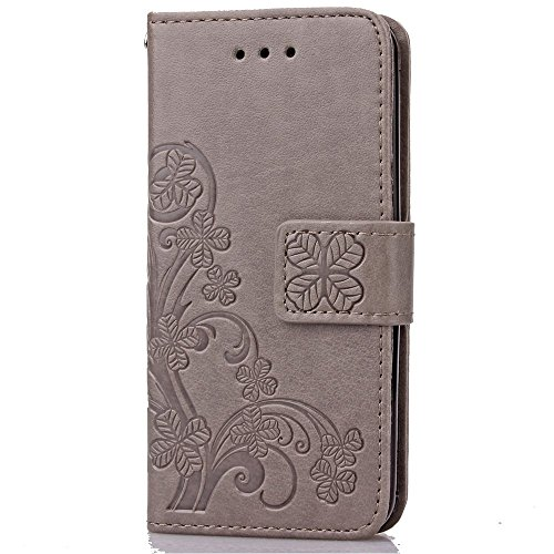 Custodia per Apple iPhone 4s,TOCASO Bianco Flip Wallet Case PU Pelle [Strap/Lanyard] Caso per Apple iPhone 4s Portafoglio Cover Ultra Sottile Leather Protettivo Cases Covers Shell ID Carta Slots Caso  Grigio,Leaf