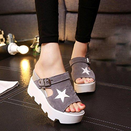 Bescita Frauen Fisch Mund Casual Schuhe Plattform Wedges Sommer Fünf-Sterne Sandalen Schuhe Grau