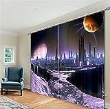 KKLL 3D Blackout Vorhänge Polyester Druck Drapieren Lärm Reduzieren Panels Solide Thermische Fenster Vorhänge für Schlafzimmer, 1, wide 2.64x high 2.41