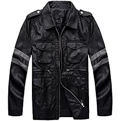 Vivian Resident Evil Biohazard Leon Disfraz Cosplay PU chaqueta de cuero Hombres Abrigo,Tamaño XXL:175-180 cm