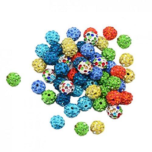 MagiDeal 50er sortierte Farbe rundem Ton Kristall Disco Ball Perlen 10mm (Sortierte 10 Bälle)