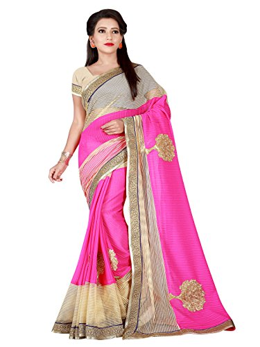Shonaya Women\'s Pink Cream Chiffon Net Embroidery Saree
