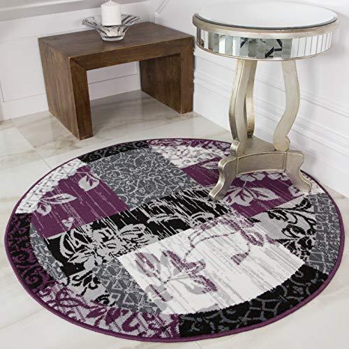 The Rug House Milan Traditioneller Rund Kreis Teppich mit Patchwork-Muster für das Wohnzimmer in Lila Violett-, Schwarz- und Graufarbtönen 160cm Durchmesser -