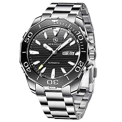 Reloj automático BERSIGAR para Hombre con Reloj de Acero Inoxidable Casual Resistente al Agua y Duradero para Hombre con Fecha