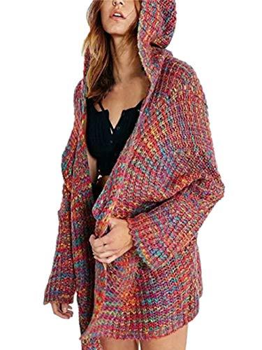 Ansenesna Cardigan Damen Herbst Winter Strick Hoodie Locker Warm Elegant Mantel Mit Kapuze Mode Freizeit Bunt Für Mädchen Teenager (Rot, S)