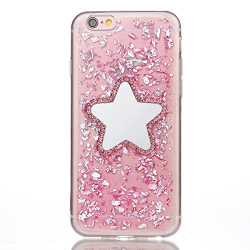 Cover iPhone 8 Glitter, LuckyW TPU Silicone Transparent Custodia per iPhone 8 Brillantini Crystal Cristallo Glitter Luccichio Bling Shinny Protettivo Shell Clear Limpido Bumper Case Cover Ultra Sottil Stella