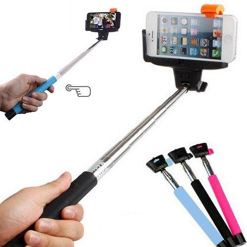 Bluetooth Selfie Stick Stange Stab Monopod Teleskopstange Schwarz für IOS und Android Smartphones