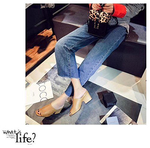 GLTER Frauen Peep Toe Pump Street Einfache Leder High-Heel Square Pantoffeln Dicke Heel Maultiere Yellow