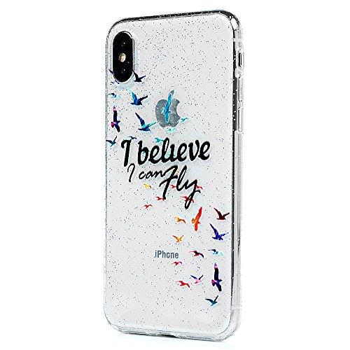 MAXFE.CO Schutzhülle Tasche Case für iPhone X TPU Silikon Cover Gemalt Muster Etui Protective Schale Bumper Herz Vögel