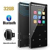 Reproductor MP3 Bluetooth 32GB Música Podómetro Grabador Radio FM Grabación Soporta hasta 128GB