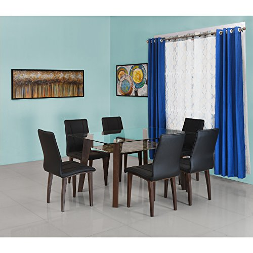 @home by Nilkamal FIDSSYMPNYKIT6SWL Six Seater Dining Table Set (Powder Coating Finish, Black)
