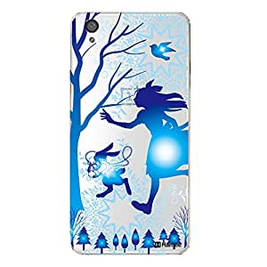 Hamee Designer Cover Thin Fit Crystal Clear Plastic Hard Back Case for OnePlus X (Girl and Rabbit / Blue)