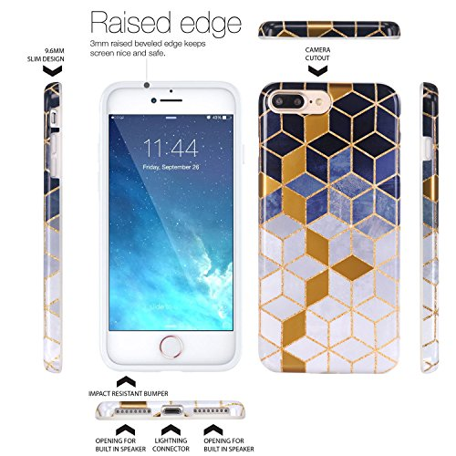 Cover iPhone 8 Plus, JIAXIUFEN TPU Gel Silicone Protettivo Custodia Case Cover Per Apple iPhone 7 Plus / iPhone 8 Plus - Bianco Marmo Design Shiny Gold Gradient Cubes