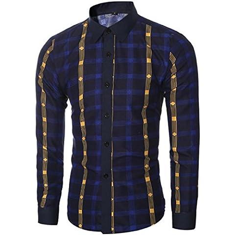 Tops Maglietta Clode® Uomo Camice di Modo Casuale a Maniche Lunghe Slim Fit Plaid Tops Maglietta
