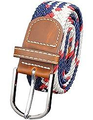 Minetom Hombres Mujer Unisexo Tejida Cuero Cinturón Tramo Elástico Pretina Muchos Colores