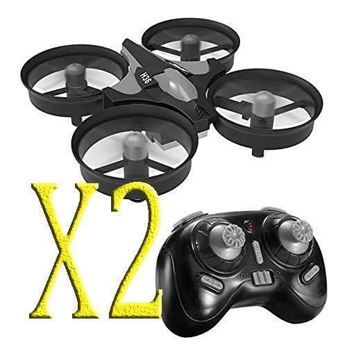 trecce 2 Unidades H36 Mini Drone 2.4G 4Canales 6 Ejes Radio Control Modo sin Cabeza Drones para Niños (Negro)