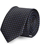 Étroit Cravate de Fabio Farini à pois en noir bleu