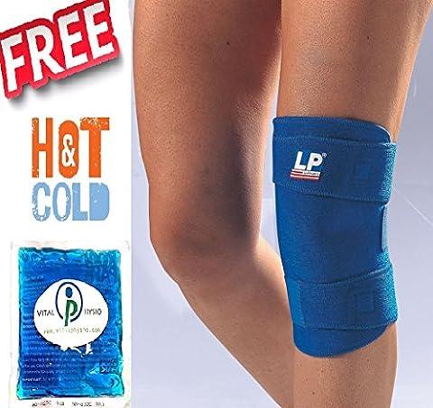 LP 756Close support de genou + Vital Physio Ice Pack Bundle de chaleur (Rotule Brace ligament en néoprène Sports blessure Wrap)