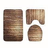 AMhomely 3 stücke Holz Muster Rutschfeste Sauggriff Badematte Badezimmer Küche Teppich Fußmatten Decor Bedruckt, WC-Bodenmatte (Teppich + WC-Vorleger + Toilettensitzbezug)