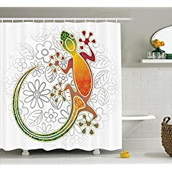 Batik Decor Vorhang für die Dusche von ambesonne, native Südost-asiatischen gemeinsames Haus Gecko Moon Eidechse Tropical Monster Graphic eingerichtet, Stoff Badezimmer Decor Set mit Haken, 177,8 cm, Multi