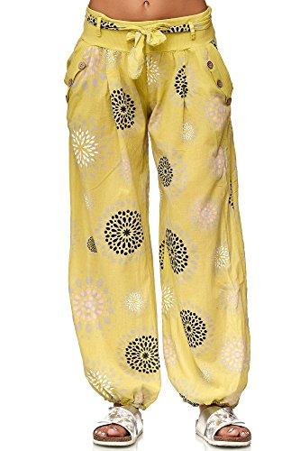 JillyMode Wunderschöne Leichte Haremshose aus Baumwolle in Viele Muster Gr.34-Gr.40 OneSize (H131-Senf) -