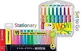 Textmarker - STABILO BOSS ORIGINAL - 15er Tischset - 9 Leuchtfarben, 6 Pastellfarben + Textmarker swing cool 8er Etui für unterwegs